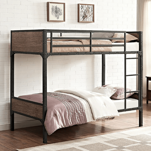 Rustic Wood Twin over Twin Bunk Bed (250 LBS Weight Capacity)