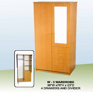 4-Drawers And 2-Door Wardrobe W-3(CT)