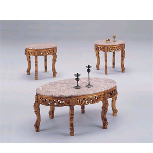 3-PC Marble Top Coffee Table Set8290_/8291_(ITM)