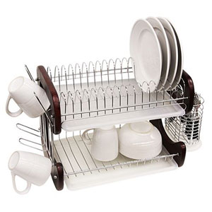 2-Tier Woode And Chrome Dish Drainer DD1009_(HDSFS)