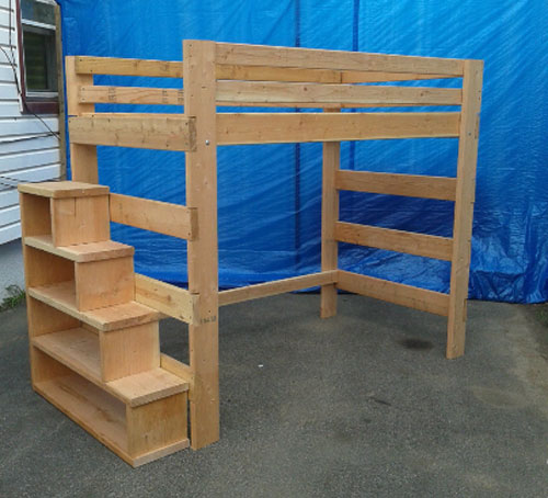 Heavy Duty Solid Wood Loft Bed 1000 Lbs Wt. Capacity With Stairs (USM)