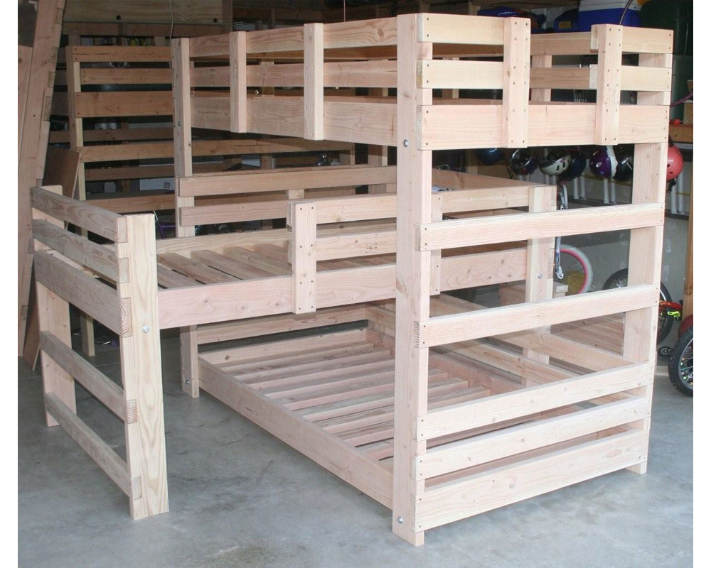 Solid Wood Custom Made Triple L Shape Bunk Bed Usm