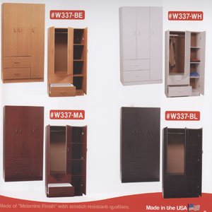3-Door And 2-Jumbo Drawer Wardrobe W337_(WP)