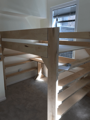 XO Solid Wood Loft Bed With Bookcase And Angle Ladder