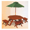 Octagon Table & 4 Stools Set 00040 (KK)