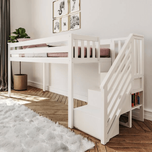 Solid Wood Twin Size Low Loft Bed With Staircase (Multiple Colors)(Weight Capacity 400 Lbs)