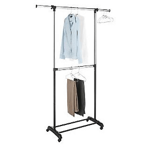 Adjustable 2-Rod Garment Rack, Chrome/Black 007424437(WFS30)