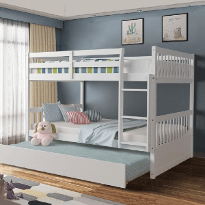 Solid Wood Full/Full Bunk Bed Platform Wood Bed (Multiple Colors)(360 Lbs Weight Capacity)