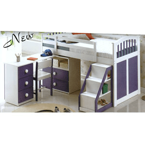 Wyatt White Finish Loft Bed Set 19405 (AFS)