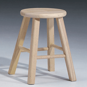Solid Unfinished Wood 18 In. Round Top Stool 1S-518(ICFS)