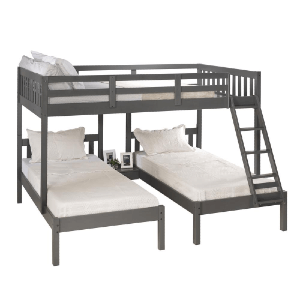Full Over Double Twin Bed Loft Bunk In Dark Grey Finish