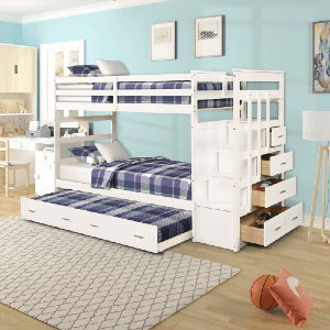 Twin-over-Twin Bunk Bed with Storage Stairs (Multiple Colors)(350 Lbs Weight Capacity)
