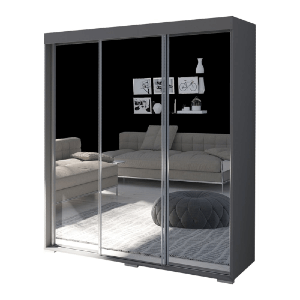Mirrored Armoire 3 Sliding Doors (Multiple Colors)