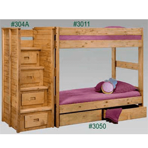 Twin/Twin Bunk Bed Stairs And Under Bed Drawers 3011/304(PC)