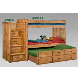 Twin/Twin Bunk Bed With Staircase And Drawers 3014T/304A(PC)