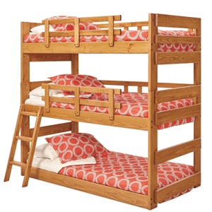 Solid Wood Hartland Triple Bunk Bed (250 Lbs Weight Capacity Per Bunk)