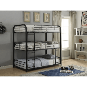 Cairo Full Triple Bunk Bed in Sandy Black (200 Lbs Weight Capacity Per Bed)