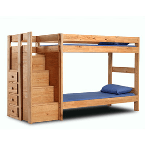 Solid Wood Twin/Twin Bunk Bed With Stairs 394_(PC)