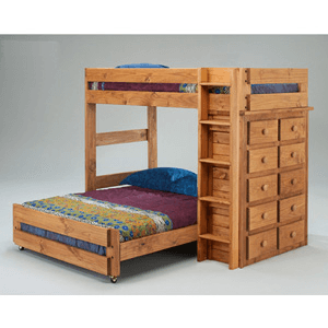 Twin/Full Loft Bed w/Ten Drawer Chest 3977 (PC)