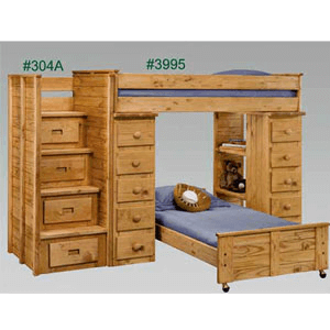 Twin/Twin Loft Bed With Stairs And Drawers 3995/304A(PC)