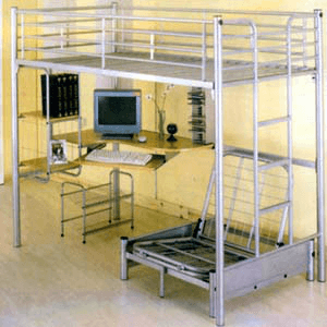 Computer Station Silver Twin Loft-Bed 4027(ML)(Weight Capacity 400 Lbs)