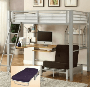 Full Size Studio Loft Bed 500 Lbs Weight Capacity 98630(ML)