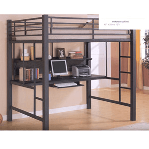 Avalon Full Workstation Loft Bed Black 460023(COFS)