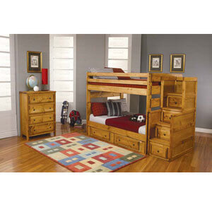 Solid Wood Full/Full  Stairway Bunk Bed 460096/8(CO)