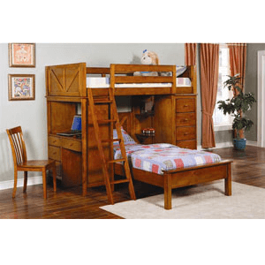 Twin Workstation Loft Bunk Bed 460123 (CO)