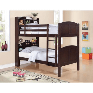 Parker Twin Bookcase/Bunk Bed with Built-In Ladder 460442(WFS)