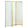 Three Panels Natural Screen with Pleated Fabric 4617(CO)