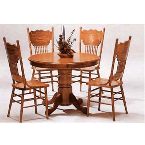5-Pc Solid Oak Round Dinette Set 5245N/5275AN (CO)