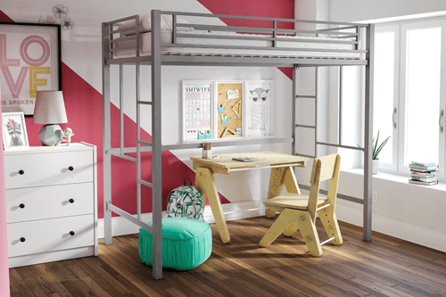 Twin Metal Loft Bed 550404687(225 Lbs Weight Capacity)