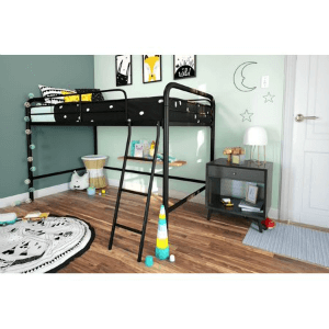 Twin Size Junior Metal Loft Bed Multiple Color (225 Lbs Weight Capacity)