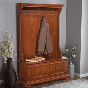Hall Tree and Storage Bench Distressed Warm Oak Finish