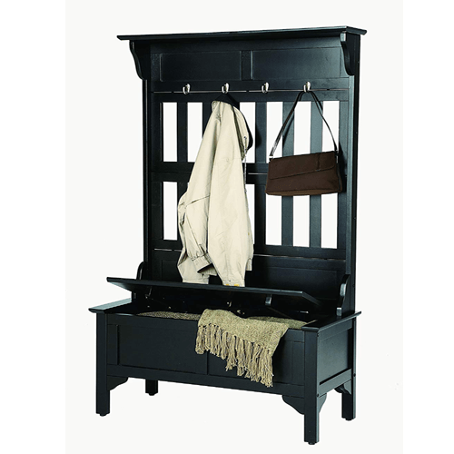Full Hall Tree and Storage Bench Black Finish