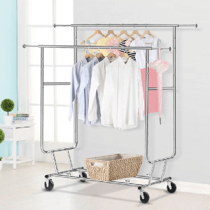 Commercial Rolling Collapsible Clothing Garment Rack (250 Lbs Weight Capacity)