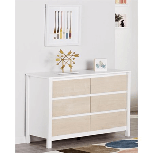 Novogratz Addison 6 Drawer Dresser Natural and White