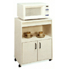 White Microwave Stand With Casters 6528 (CO)