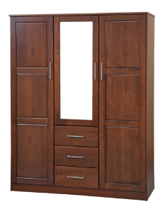 Solid Wood 3-Door Cosmo Wardrobe with Mirror