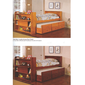 Solid Wood Captain's Bed With Bookcase 8430(ABC)