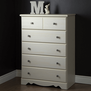 Country Poetry 5 Drawer Chest White Wash
