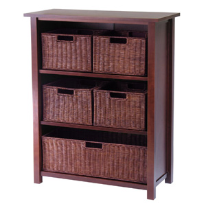Milan Wood 4 Tier Open Cabinet in Antique Walnut Finish and 5 Rattan Baskets 94313(WWFS)