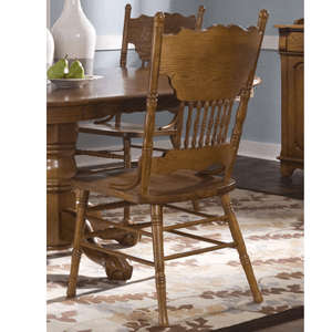 Nostalgia Press Back Dining Side Chair in Medium Oak