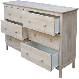 Solid Wood Unfinished Dresser with 6 Drawers  BD-8006(ICFS)