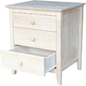 Solid Wood Unfinished Nightstand with 3 Drawers BD-8013(ICFS)