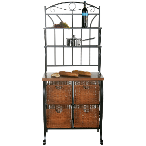 Lillian Black Bakers Rack with 4 Brown Baskets BE1886