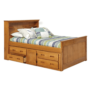 Solid Wood Heartland Twin Bookcase Captains Bed with Underbed Storage