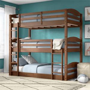 Solid Wood Sierra Triple Bunk Bed (Multiple Colors)