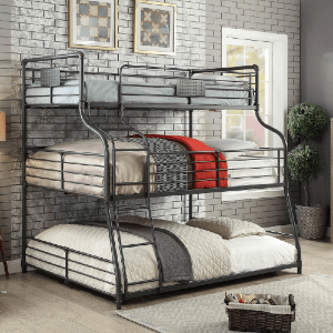 Syd Industrial Black Triple Decker Bunk Bed (Twin XL, Full, Queen)